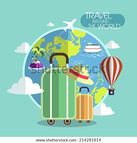 flat design for travel around the world concept graphic  - stock vector