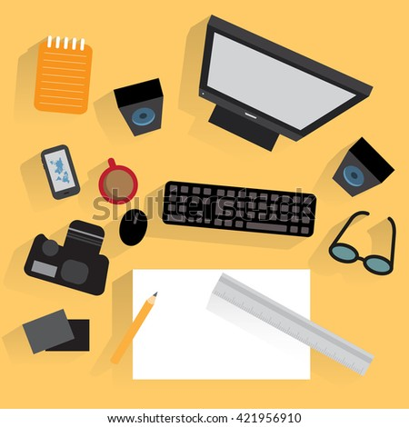 Flat design for workplace organization of animator or phorographer with desktop pc, camera, pencil, paper  - stock vector