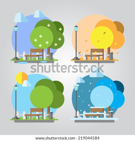 Flat design four seasons park illustration  - stock vector