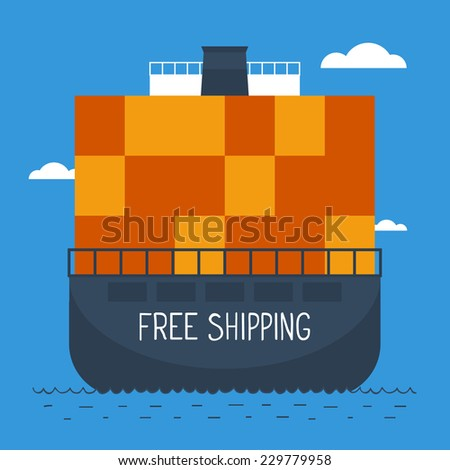flat design free shipping illustration - stock vector