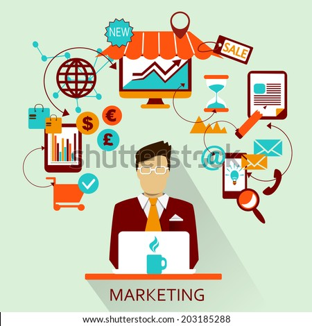 Flat design . Freelance career. Marketing. - stock vector