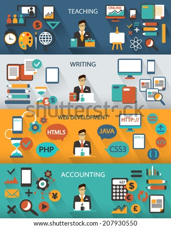 Flat design. Freelance jobs infographic with long shadows. - stock vector