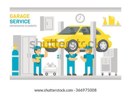 Flat design garage service infographic illustration vector - stock vector