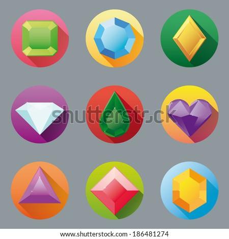 Flat Design Gem Icon Collection. Set of nine flat design gem vector icons. - stock vector