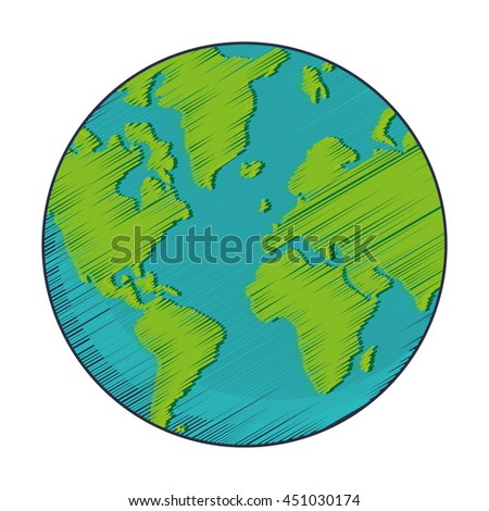 flat design geometric texture earth globe icon vector illustration
