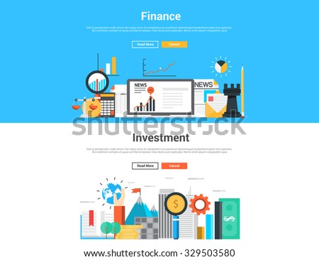 Flat design graphic  image concept, website elements layout of  Finance and Invetment. Icons Collection of Creative Work Flow Items and Elements. Vector Illustration - stock vector