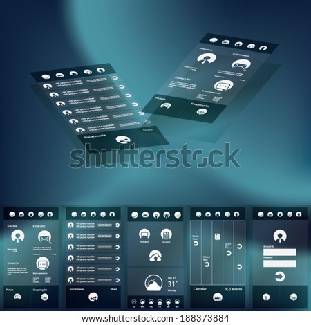 Flat design graphic user interface concept with space for text suitable for infographics or advertisement. Eps10 vector illustration - stock vector