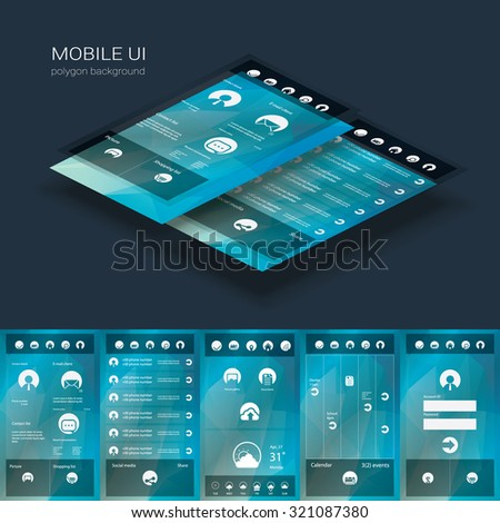 Flat design graphic user interface concept with text space suitable for infographics or advertisement. Eps10 vector illustration. - stock vector