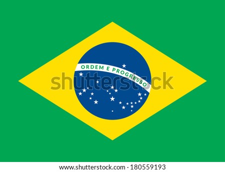 Flat design green soccer field, brazil flag, vector background illustration