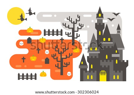 Flat design Halloween infographic elements illustration vector - stock vector