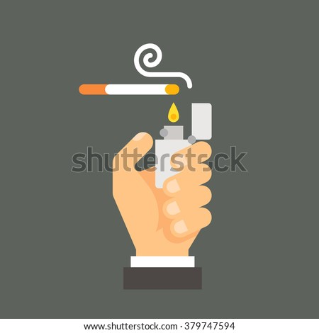 Flat design hand holding lighter and cigarette illustration vector - stock vector