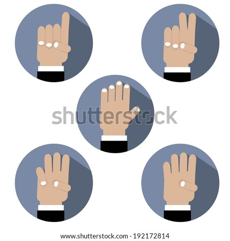 Flat Design Hand Make Number Icons - stock vector