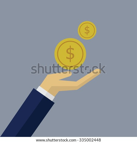 Flat design hand with coins
