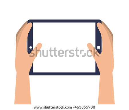 flat design hands holding single tablet icon vector illustration
