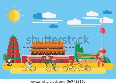 Flat design, Happy family biking in China - stock vector