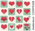 Flat design Heart Icon Set - Vector Graphics - stock vector