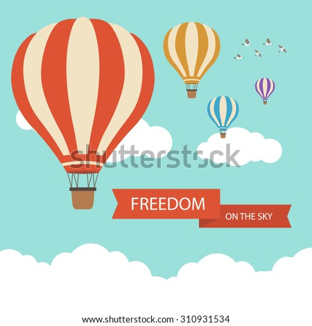 Flat design, Hot air balloon in the sky with cloud background - stock vector