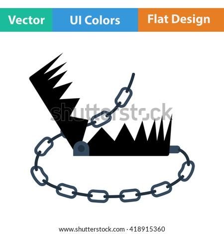 Flat design icon of bear hunting trap in ui colors. Vector illustration. - stock vector