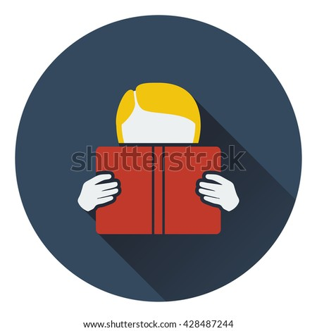 Flat design icon of Boy reading book in ui colors. Flat design. Vector illustration. - stock vector