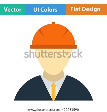 Flat design icon of construction Foreman head in ui colors. Vector illustration. - stock vector