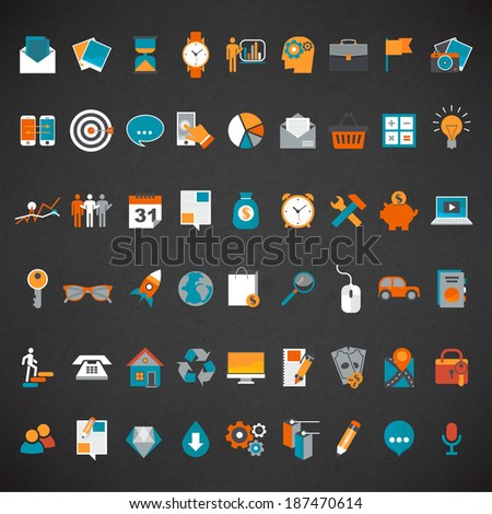 Flat design icon set.  - stock vector