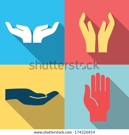 Flat design icon set of hands in many and different gesture. Vector illustration.  - stock vector