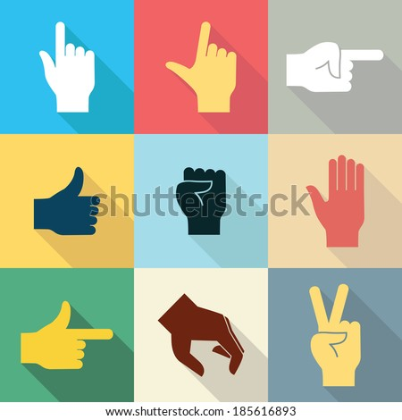 Flat design icon set of hands in many and different gesture with long shadow set 2. Vector illustration.