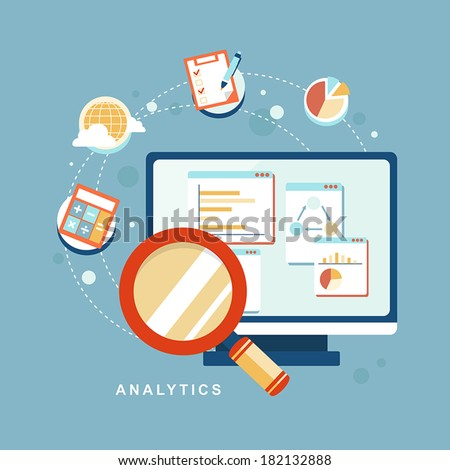 flat design icon set of website SEO optimization, programming process and web analytics elements - stock vector