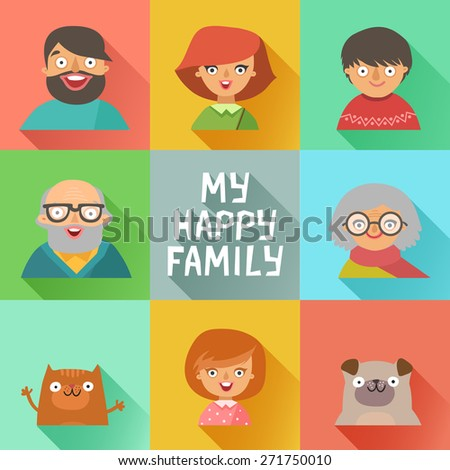 Flat design icons collection of family members avatars: mom, dad, son, daughter, grandmother, grandfather, dog and cat. Vector colorful illustrations in flat style. - stock vector