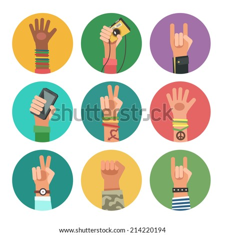 Flat design icons collection of hands of different young people. New Generation avatars set. Vector illustration in flat design - stock vector