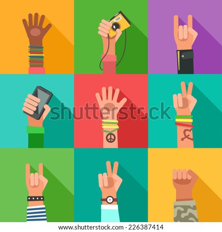Flat design icons collection of hands of different young people. New Generation avatars set. Vector colorful illustration in flat design - stock vector