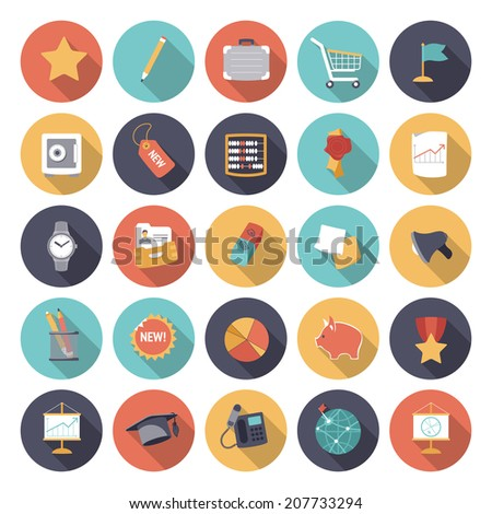 Flat design icons for business and finance. Vector eps10 with transparency. - stock vector