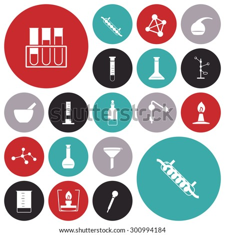 Flat design icons for chemistry lab. Vector illustration. - stock vector