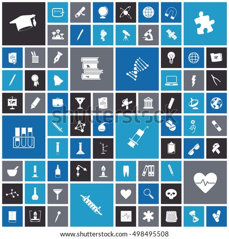 Flat design icons for education, science and medical. Vector illustration.