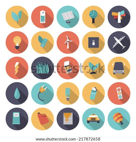 Flat design icons for energy. Vector eps10 with transparency. - stock vector
