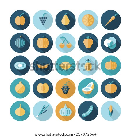 Flat design icons for fruits and vegetables. Vector eps10 with transparency. - stock vector