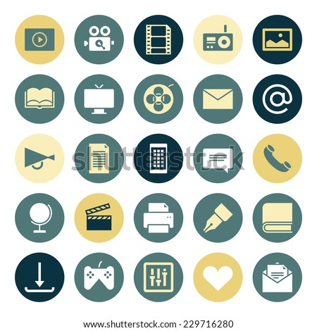 Flat design icons for media. Vector illustration. - stock vector