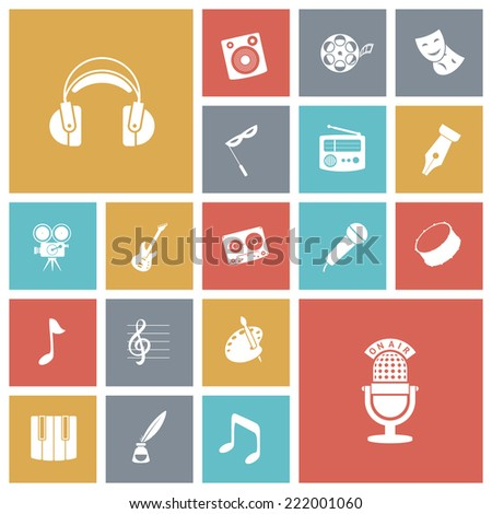 Flat design icons for music and sound. Vector illustration. - stock vector