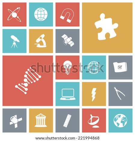 Flat design icons for science. Vector illustration. - stock vector