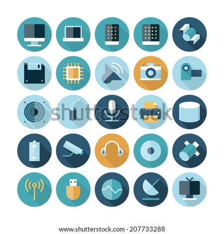 Flat design icons for technology and devices. Vector eps10 with transparency. - stock vector