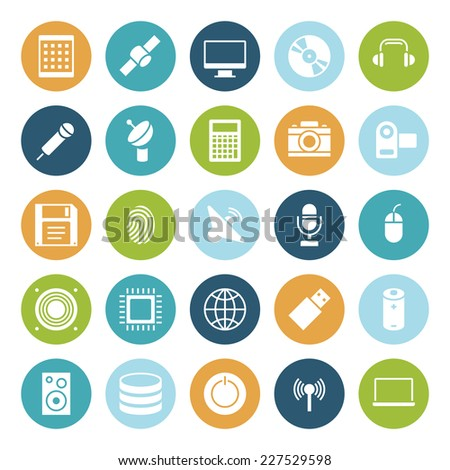 Flat design icons for technology and devices. Vector illustration. - stock vector