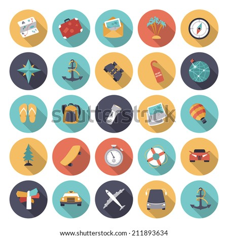 Flat design icons for travel and transportation. Vector eps10 with transparency. - stock vector