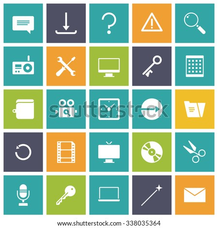 Flat design icons for user interface. Vector illustration. - stock vector