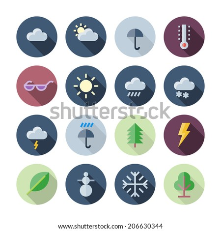 Flat Design Icons For Weather and Nature. Vector illustration eps10, transparent shadows. - stock vector