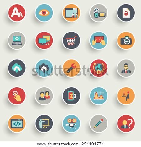 Flat design icons for web design development, SEO and internet marketing. - stock vector