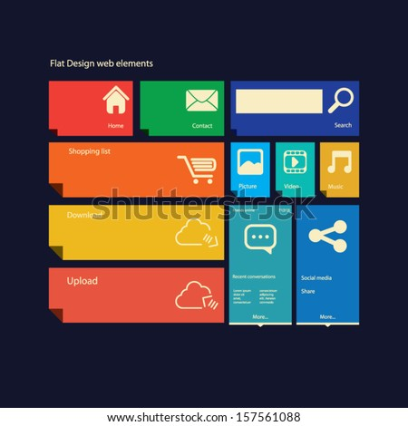 Flat design icons layout vector illustration suitable for web design or smartphone/tablet graphic user interface - stock vector