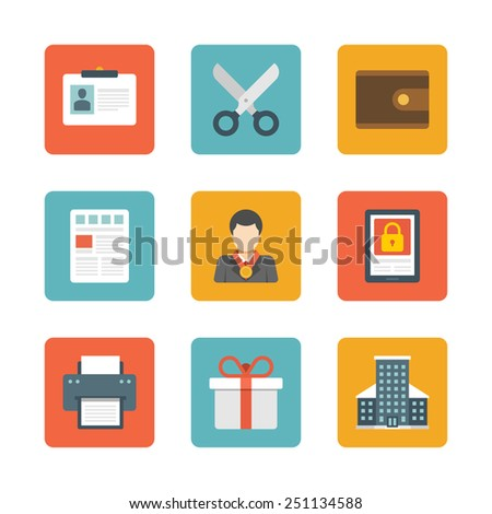 Flat design icons, Money Purse, Scissors, User Profile, Newspaper, Leader, Security, Printer, Gift Box, Skyscrapper Building. Vector business symbols for website and promotion banners.  - stock vector