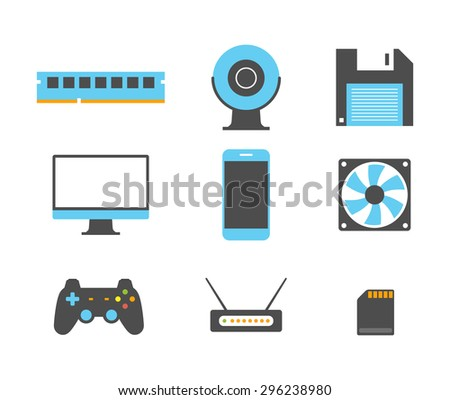 Flat design icons of computer and mobile devices.  - stock vector