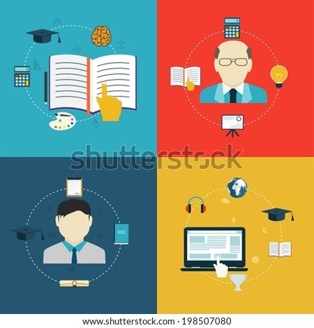 Flat design icons of education, online learning and research. - stock vector