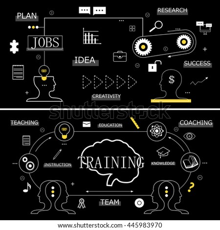 Flat Design Icons On Black Background - Vector Illustration, Graphic Design. For Web, Websites, Print Materials - stock vector